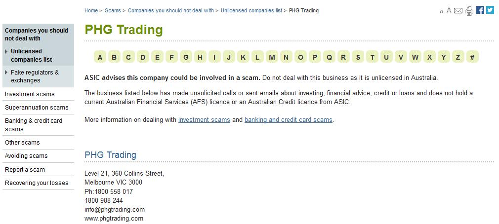 ASIC warning on PHG